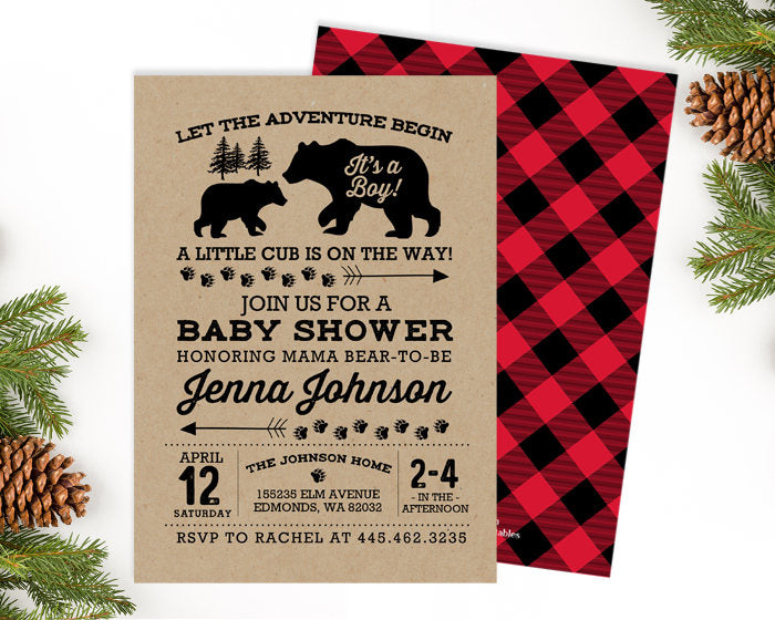 Rustic Baby Shower Invitation Bear Baby Shower Invite Kraft Buffalo Plaid Flannel Greatest Adventure Shower Co-Ed Baby Shower Invite