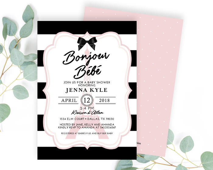 Girl baby shower invitation bonjour bb paris baby shower french girl baby shower invitation bonjour bb paris baby shower french baby shower pink black and white ooh la la baby printed or printable filmwisefo