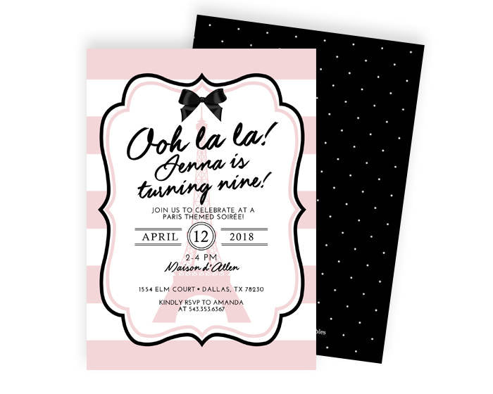 Paris Birthday Invitation Paris Theme Birthday Party Paris - Invitation in french to birthday party
