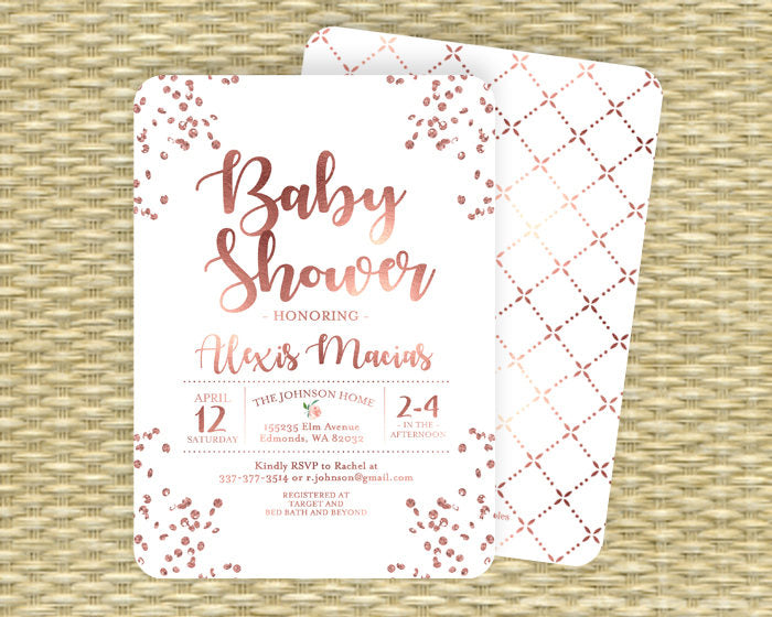 Rose gold and white baby shower invitation gender neutral baby rose gold and white baby shower invitation gender neutral baby shower invite rose gold glitter confetti any event filmwisefo