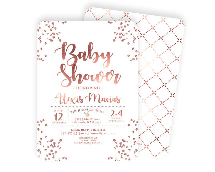 Rose Gold Baby Shower Invite Baby Girl Shower Invitation Confetti Glitter Dusty Pink Baby Sprinkle ANY EVENT