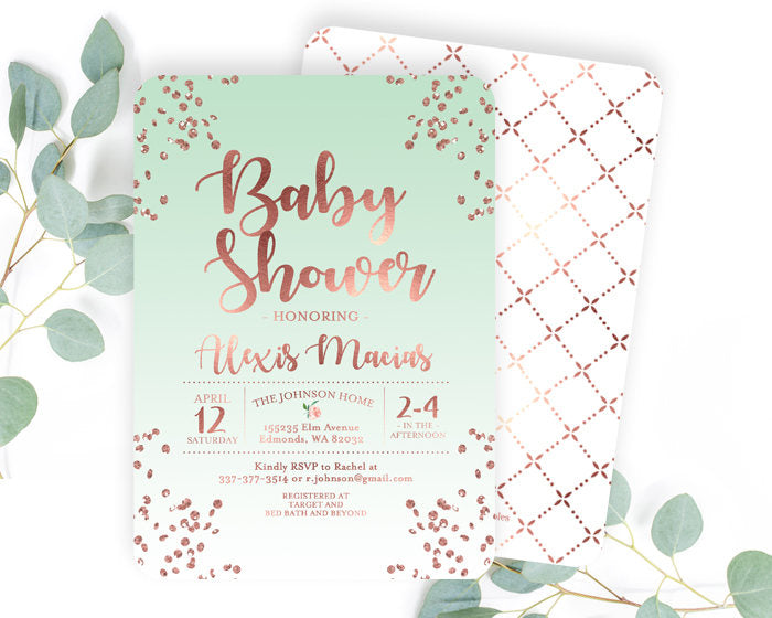 Rose Gold and White Baby Shower Invitation Gender Neutral Baby Shower Invite Rose Gold Glitter Confetti Any Event