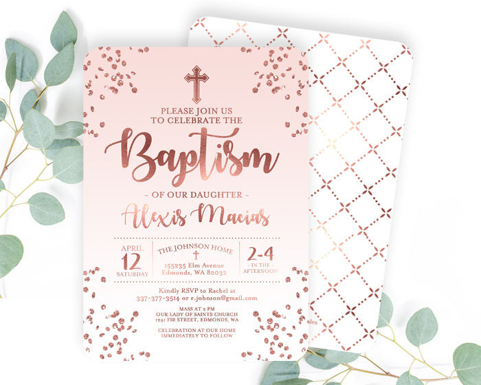 Rose Gold and Aqua Blue Baptism Invitation Baby Boy Baptism Invite Baby Boy Christening Invitation Name Day ANY EVENT Any Colors