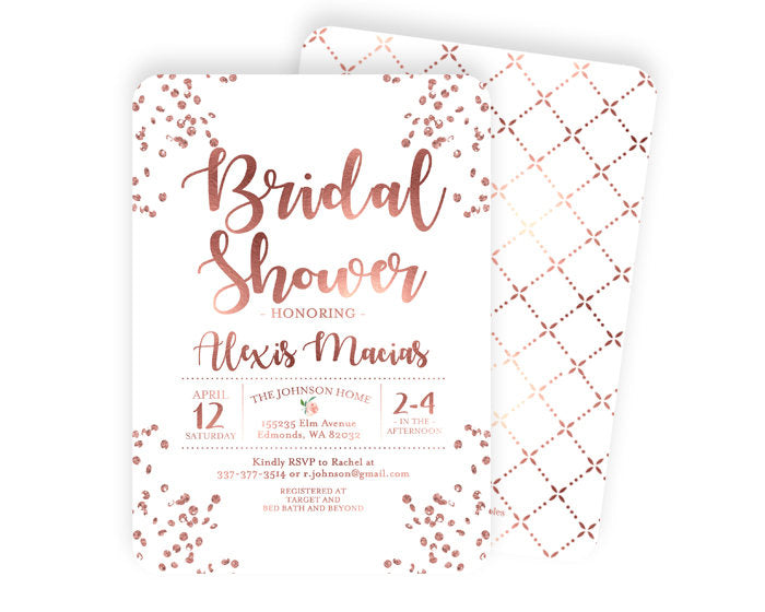 Rose Gold and White Bridal Shower Invitation Rose Gold Glitter Confetti Bridal Shower Invite Modern Bridal Shower Invite ANY EVENT