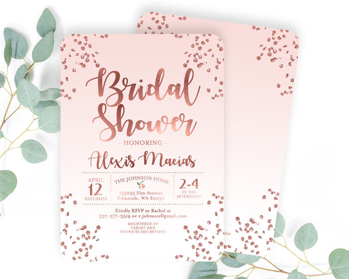 Rose Gold and Dusty Pink Bridal Shower Invitation Blush Pink and Rose Gold Glitter Confetti Bridal Shower Invite Printable or Printed