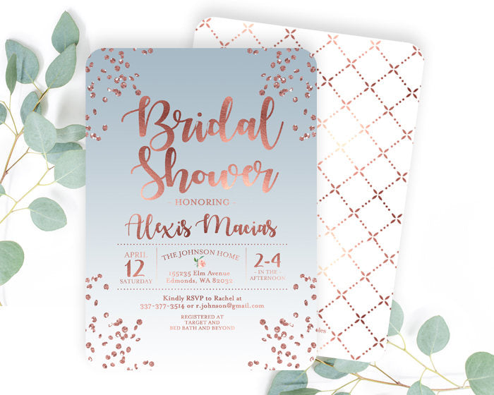 Rose Gold and Dusty Blue Bridal Shower Invitation Slate Blue Bridal Shower Invite Rose Gold Bridal Shower Invitation ANY EVENT