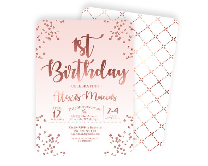 Pink and Rose Gold First Birthday Invitation Girl 1st Birthday Invite Blush Pink and Rose Gold Glitter Confetti Girl Birthday Invite ANY AGE