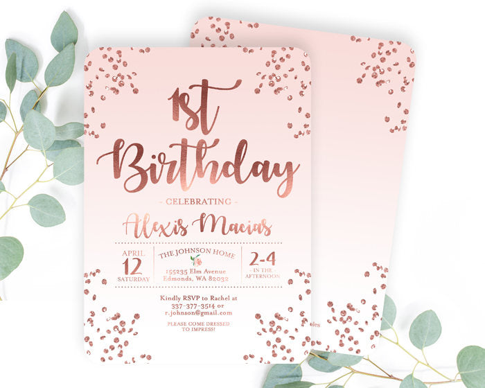 Pink And Rose Gold First Birthday Invitation Girl 1st Invite Blush Glitter Confetti ANY AGE