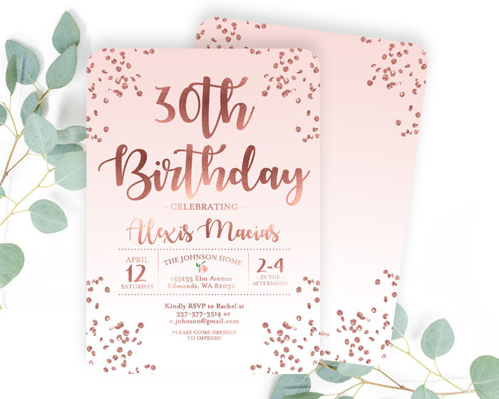 30th Birthday Invitation Rose Gold Glitter Confetti Blush Pink ANY
