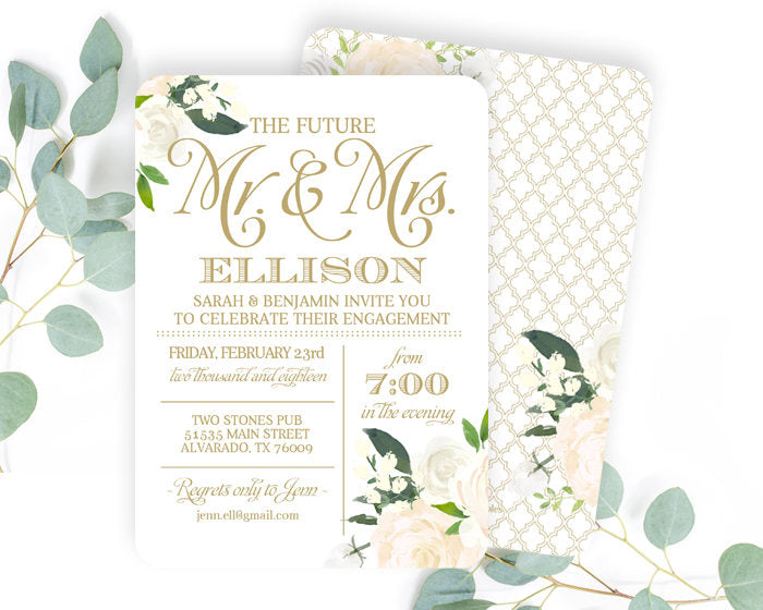 White and Gold Engagement Party Invitation White Roses Floral Engagement Party Invite White and Gold Wedding Shower Couples Shower ANY EVENT