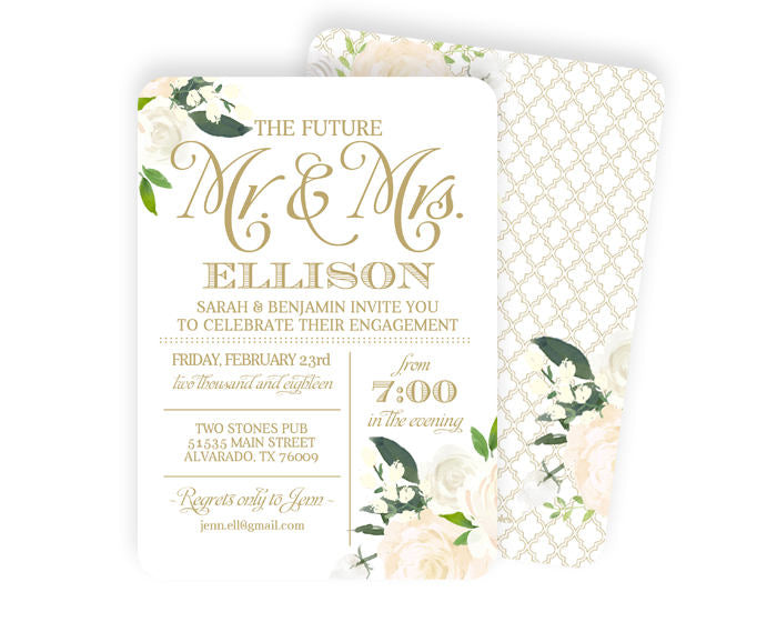 White and gold engagement party invitation white roses floral white and gold engagement party invitation white roses floral engagement party invite white and gold wedding shower couples shower any event stopboris Images