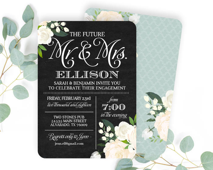 Engagement Party Invitation White Roses Chalkboard Invitation Floral