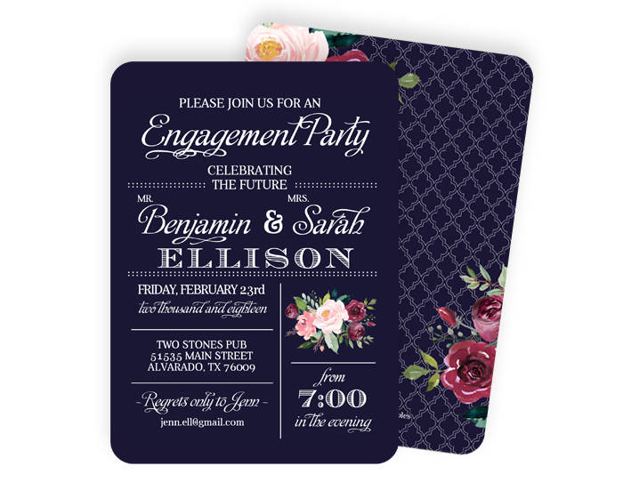 Navy Blue Engagement Party Invitation Marsala Burgundy Pink Roses Floral Engagement Party Invite Rehearsal Dinner Invite ANY EVENT
