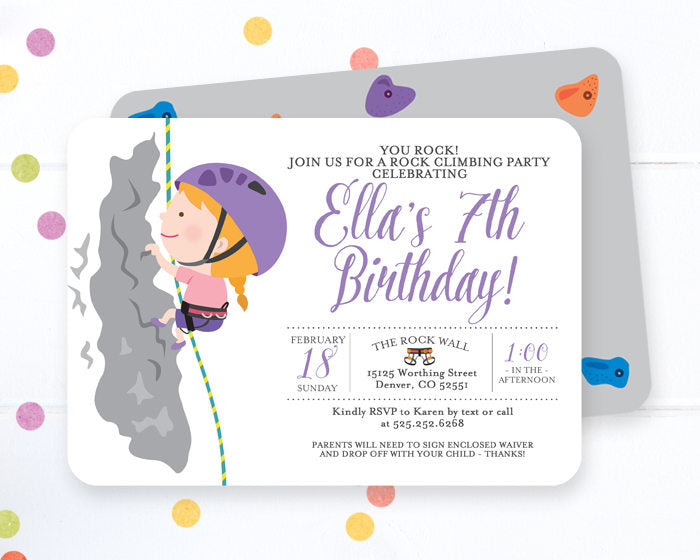 Rock Climbing Birthday Invitation Boy Rock Climbing Birthday Party