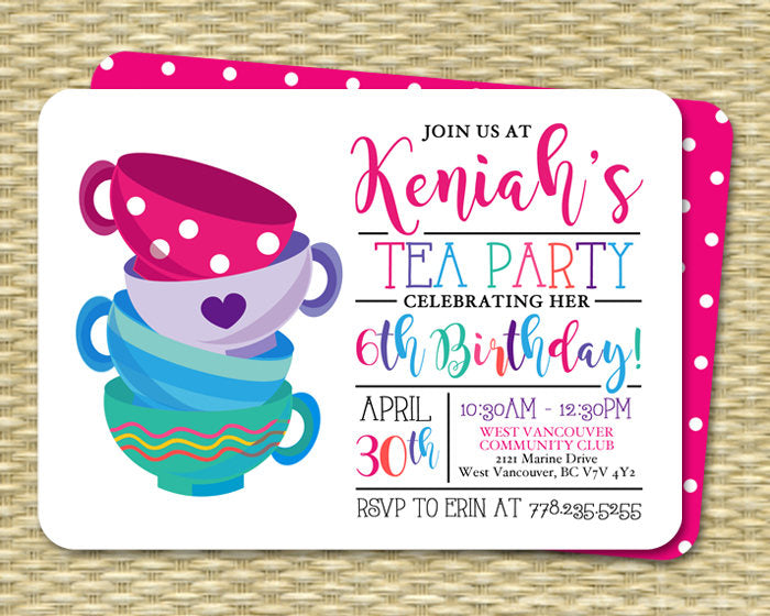 Tea Party Birthday Invitation Girl Pink Purple Blue Bright Colors