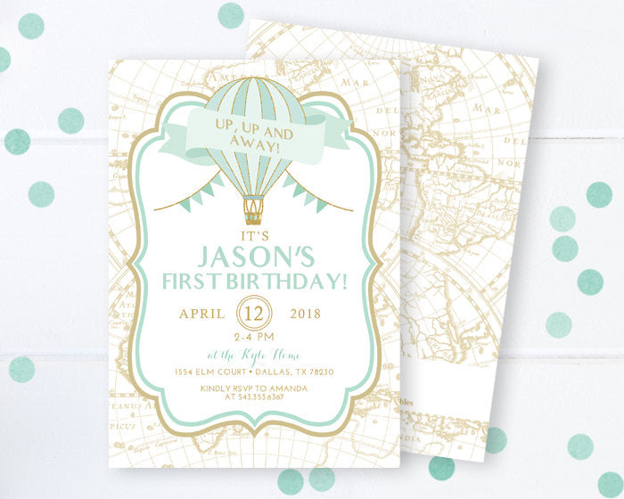 Up Up and Away Invitation, Hot Air Balloon Invitation, First Birthday, Baby Boy Birthday, Mint and Gold Birthday Invite
