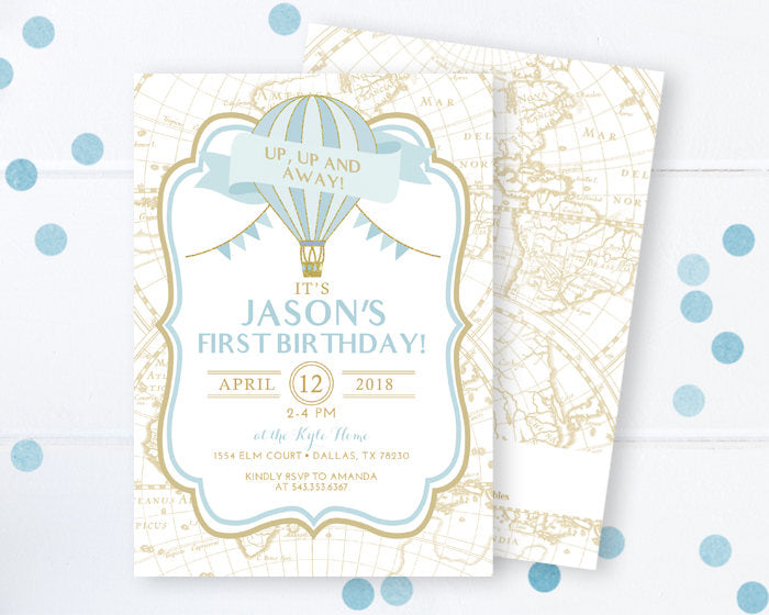 Hot Air Balloon Invitation, Hot Air Balloon Boys 1st Birthday Invite, Blue and Gold First Birthday, Oh the Places He'll Go, Up, Up & Away