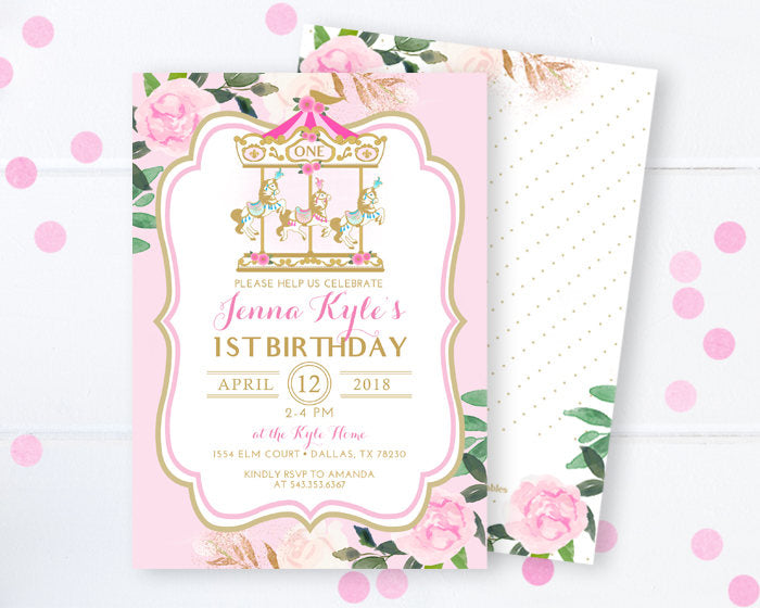 carousel 1st birthday invitation pink and gold floral carnival