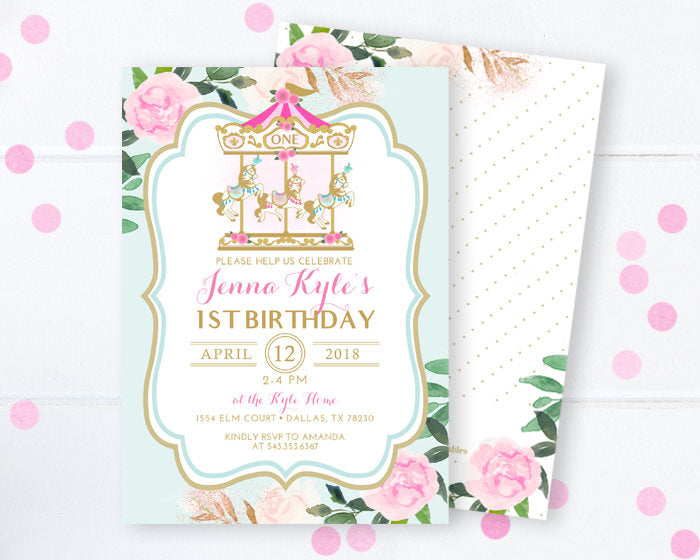 Carousel 1st Birthday Invitation Pink and Gold Floral Carnival Birthday Invitation Pony Invitation Merry Go Round