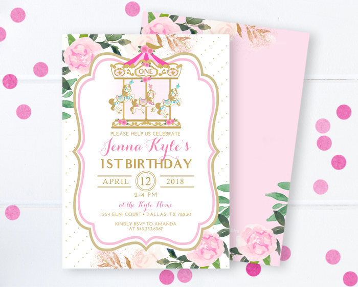 Carousel 1st Birthday Invitation Pink And Gold Floral Carnival Pony Merry Go Round
