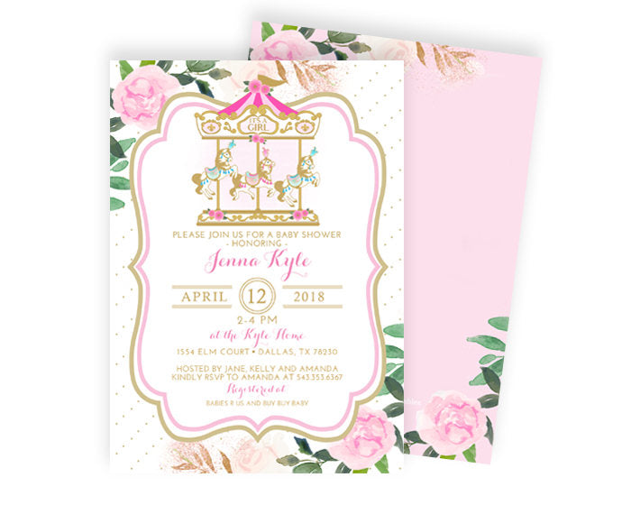 Vintage carousel baby shower invitation girl baby shower invite pink vintage carousel baby shower invitation girl baby shower invite pink and gold baby shower invitation carnival baby shower invite filmwisefo