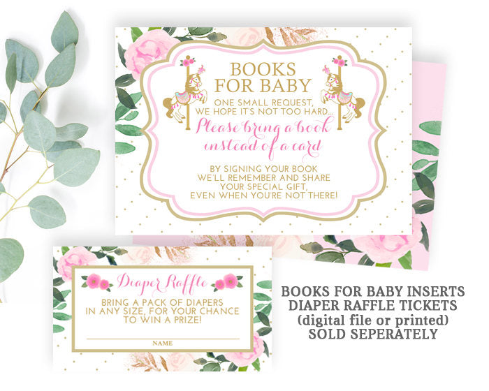 Carousel Baby Shower Invitation, Pink, Gold and White Baby Shower Invitation, Vintage Carousel Baby Shower, Carnival Baby Shower, Floral