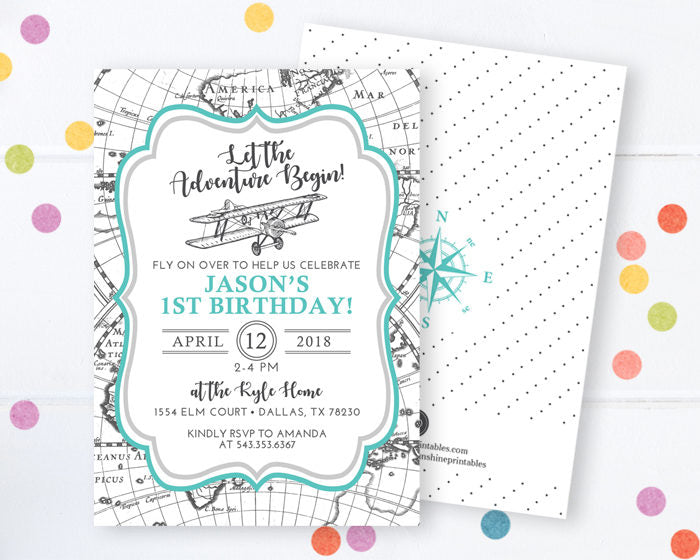 Airplane Birthday Invitation Airplane Invitation First Birthday Invitation 1st Birthday Airplane Party Invite