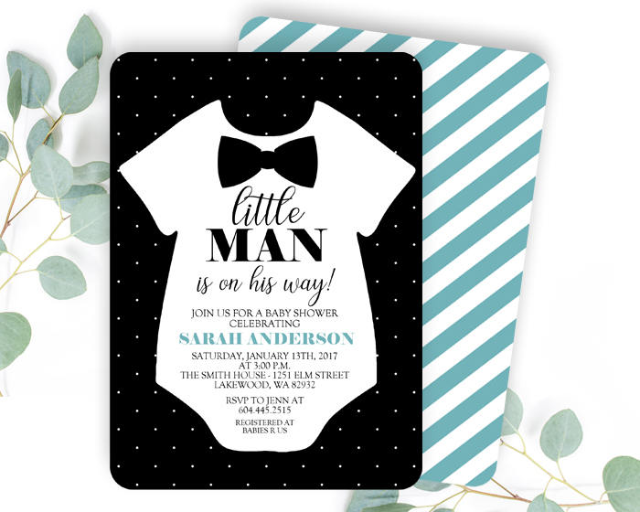 Bow Tie Baby Shower Invite Little Man Baby Shower Invitation Little Man  Invitation Baby Boy Bow Tie Invitation Black And Aqua ANY EVENT