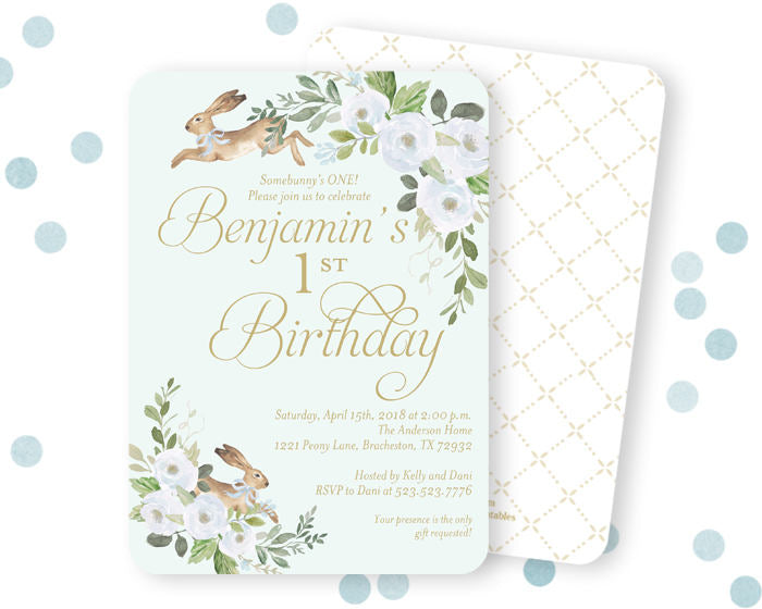 Some Bunny is Turning One Boy's First Birthday Invitation, Some Bunny 1st Birthday Invite, Spring Bunny Birthday Invite, Little Boy Bunny