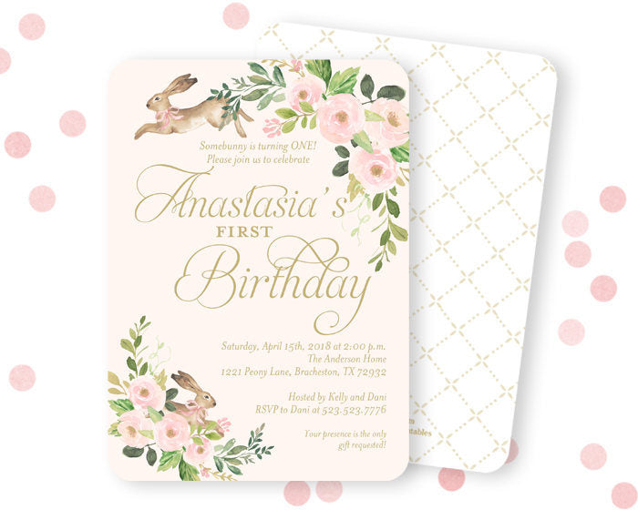Some Bunny is Turning One Girl's First Birthday Invitation, Some Bunny 1st Birthday Invite, Spring Floral Birthday Invitation, Little Bunny