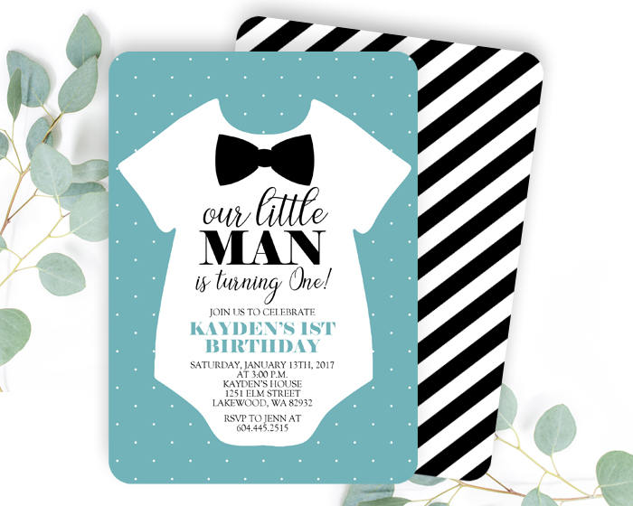 Little Man Invitation Little Man Invite First Birthday Invitation Bowtie Invitation Our Little Gentleman 1st Birthday