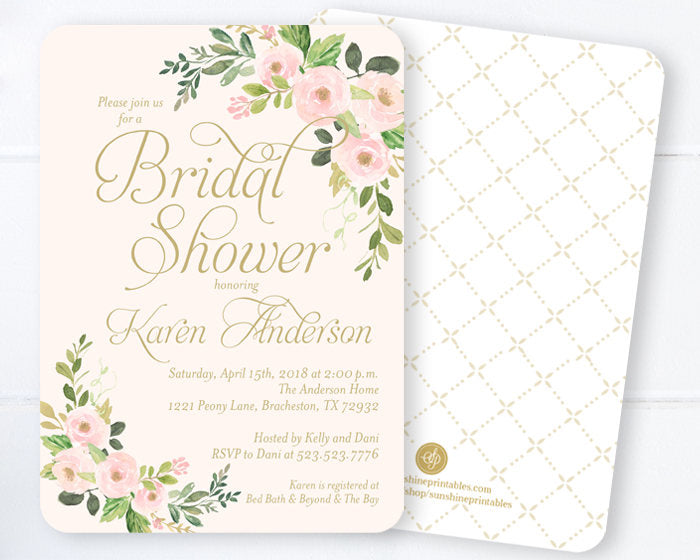 Bridal shower invitations blush pink and gold bridal shower invites bridal shower invitations blush pink and gold bridal shower invites spring floral bridal shower spring bridal invitations any event filmwisefo