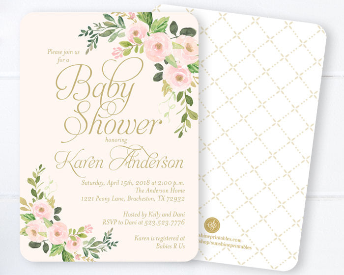 Baby Girl Shower Invitations, Blush Pink and Gold Baby Shower Invites, Spring Floral Baby Shower, Spring Baby Shower Invitations, ANY EVENT