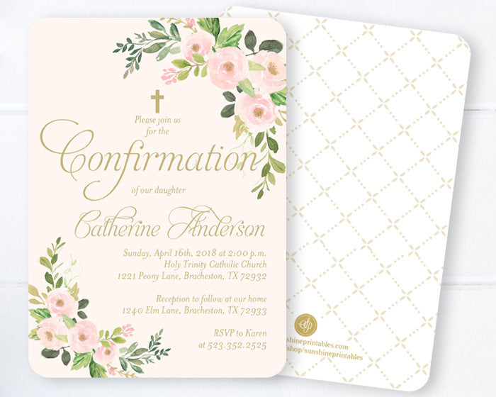 Baby Girl Christening Invitation, Blush Pink & Gold Floral Dedication Invitation, Spring Floral Baptism Invitation, Calligraphy Style