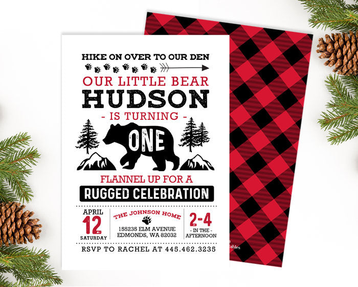 Little Bear First Birthday Invitation Lumberjack Birthday Invitation 1st Birthday Boy Flannel Buffalo Plaid Printable or PRINTED Invite