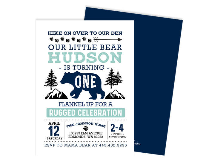Wild One First Birthday Invitation Blue and Aqua Teal Little Bear 1st Birthday Invite Boy Rustic Birthday Invite Printable or PRINTED Invite