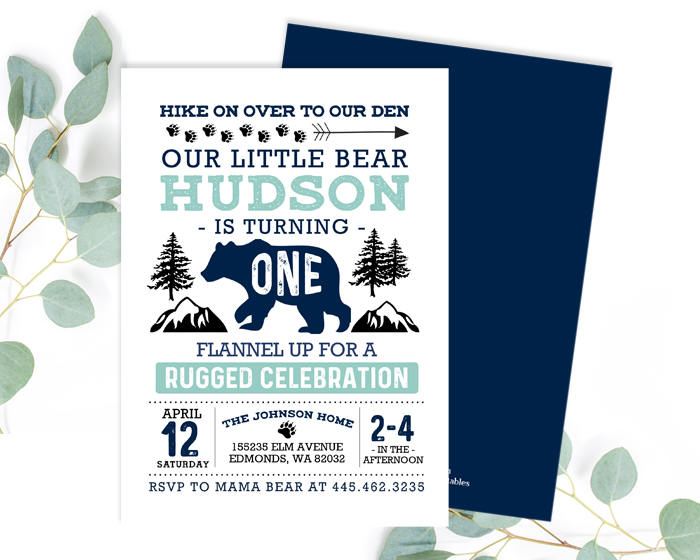 Wild One First Birthday Invitation Blue And Aqua Teal Little Bear 1st Invite Boy Rustic Printable Or PRINTED