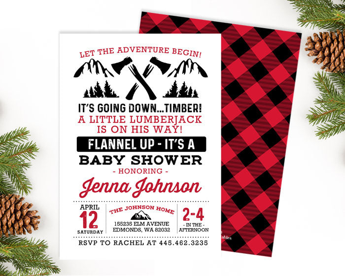 Lumberjack Baby Shower Invitation Buffalo Plaid Baby Shower Invitation Rustic Baby Shower Invitation - Printable or Printed Invites