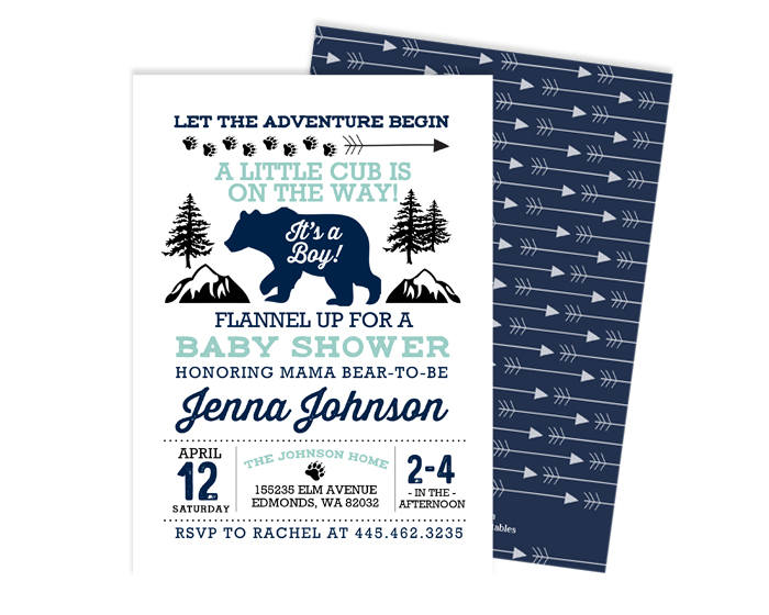 Rustic Baby Boy Shower Invitation Navy and Mint Adventure Begins Baby Bear Shower Invite Tribal Arrows Outdoor Rustic Baby Sprinkle