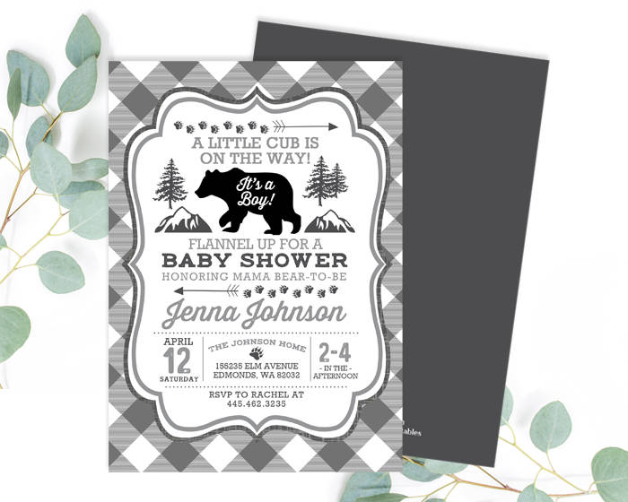 A Little Cub On the Way Baby Shower Invitation Rustic Baby Boy Shower Invite Woodland Boy Baby Shower Baby Sprinkle Invite ANY EVENT
