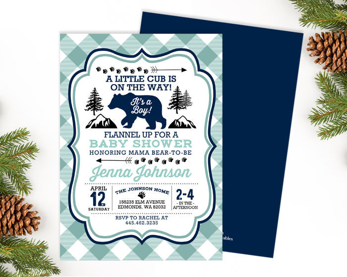 Bear Baby Shower Invitation Navy Mint Aqua Lumberjack Baby Shower Invite Buffalo Plaid Little Cub Baby Boy Shower Invite ANY EVENT