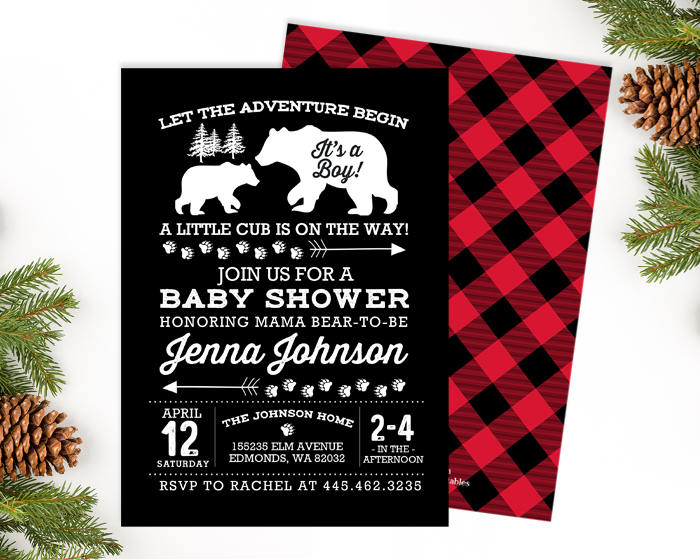 Rustic Baby Shower Invitation Boy Baby Shower Invite Boy Woodland Forest Baby Shower Invitation Black White and Red Chalkboard Buffalo Plaid