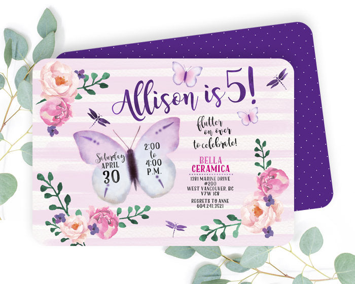 Watercolor Butterfly Birthday Invite Lavender And Aqua Floral Invitation Garden Party 1st Any Age
