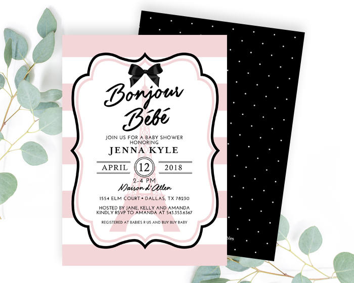 Girl Baby Shower Invitation Bonjour Bébé Paris Baby Shower French Baby Shower Pink Black and White Ooh La La Baby PRINTED or Printable