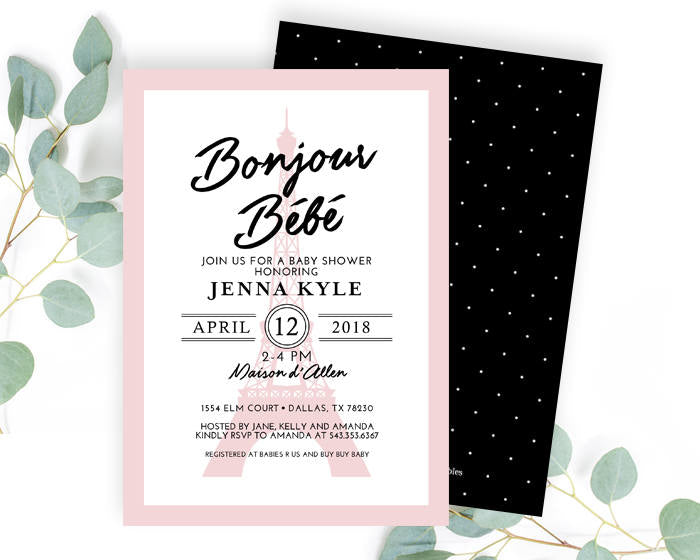 French Baby Girl Shower Invitation Paris Theme Baby Shower Invite Black and Pink Eiffel Tower Baby Shower Invitation Girl ANY EVENT
