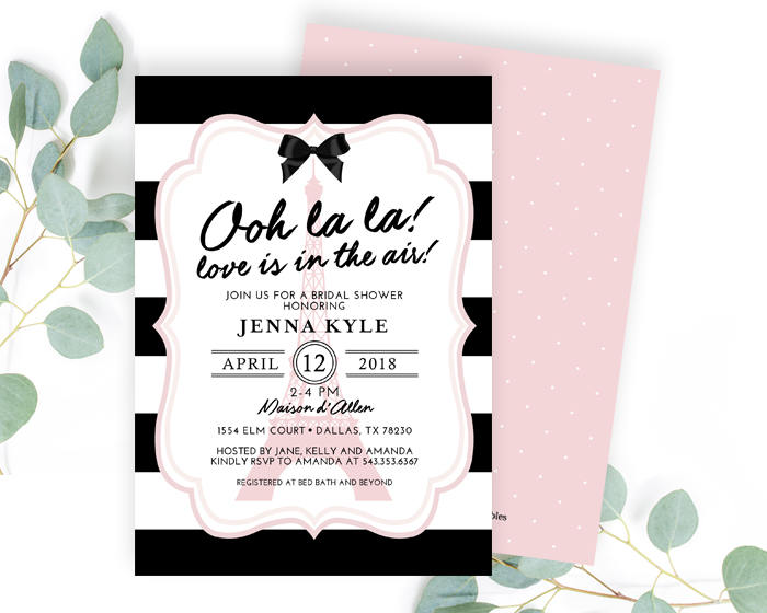 ooh la la french theme bridal shower invitation paris theme bridal shower invite eiffel tower paris invitation french shower invitation
