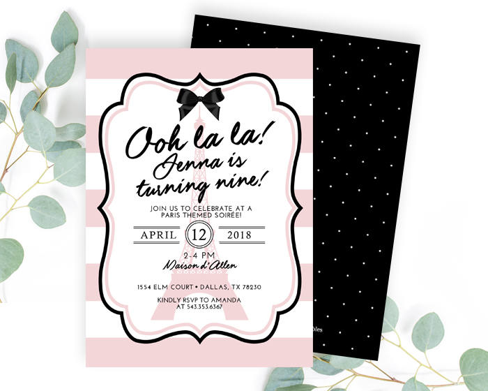 Paris Invitation Birthday Party Pink And Black Printable Or Printed