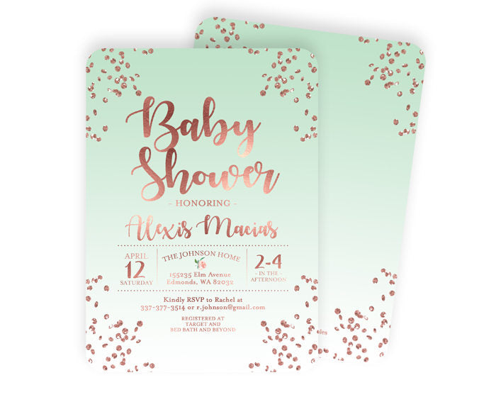 Rose Gold Baby Shower Invite Baby Girl Shower Invitation Confetti