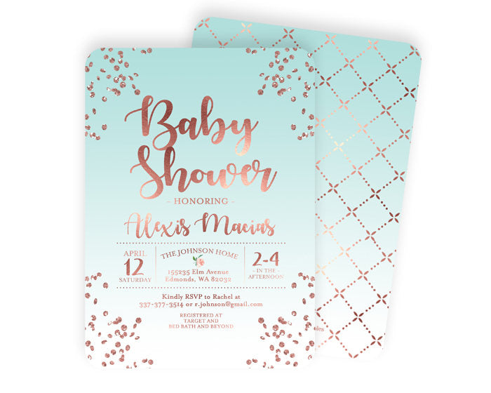 Rose Gold Baby Shower Invitation Baby Boy Shower Invite Rose Gold Glitter Confetti and Aqua Gender Neutral Shower Baby Sprinkle Invitation
