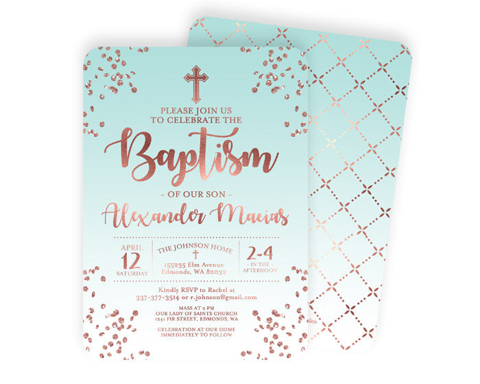 Rose Gold and White Baptism Invitation Baby Boy Baptism Invite Baby